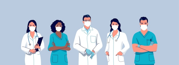 医療スタッフ。サージカルフェイスマスクを着用した医師と看護師。