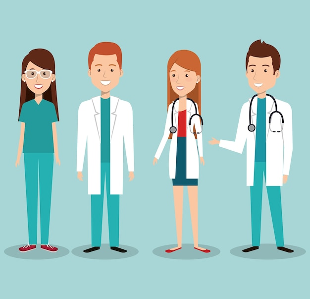 Medical staff group avatars vector illustration design