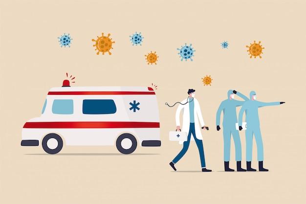 コロナウイルスcovid-19患者を救出して移送する準備ができている救急車で立っている完全防護服の医療スタッフ