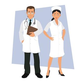 白い背景の上の医療スタッフ。
