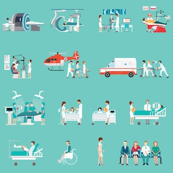Medical staff and patients different character in hospital