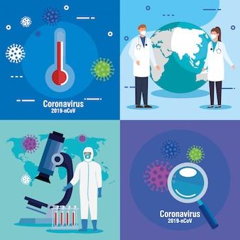 医療スタッフ、体温計、コロナウイルス粒子カードセット付きの虫眼鏡