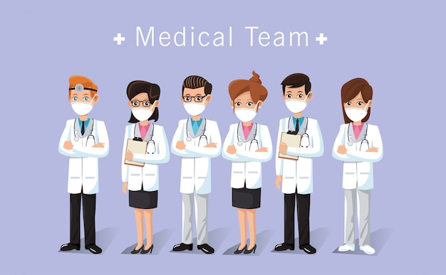 Medical staff workers thank you message illustration design
