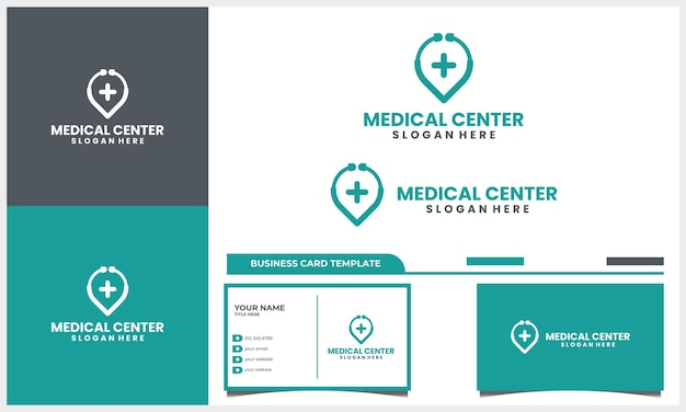 Medical stethoscope with location point logo design concept and business card template