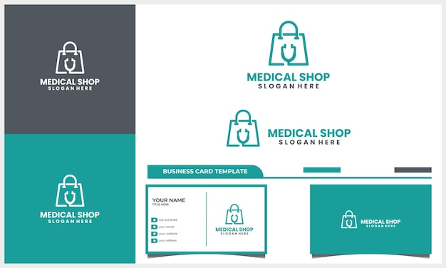 쇼핑백 로고 디자인 컨셉과 명함 템플릿이 있는 의료 청진기