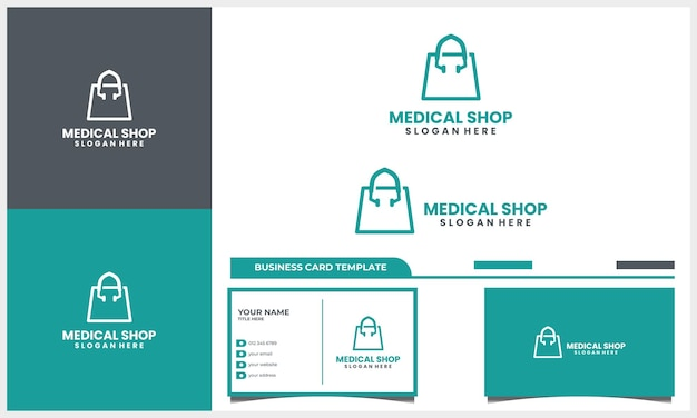 Medical stethoscope with shop bag logo design concept and business card template