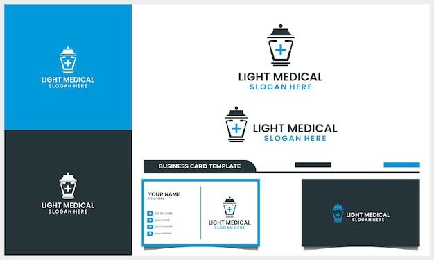 가로등 로고 디자인 컨셉과 명함 템플릿이 있는 의료 청진기