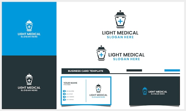 Medical stethoscope with street lights logo design concept and business card template