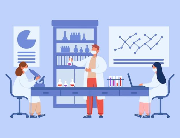 Medical students in laboratory flat illustration