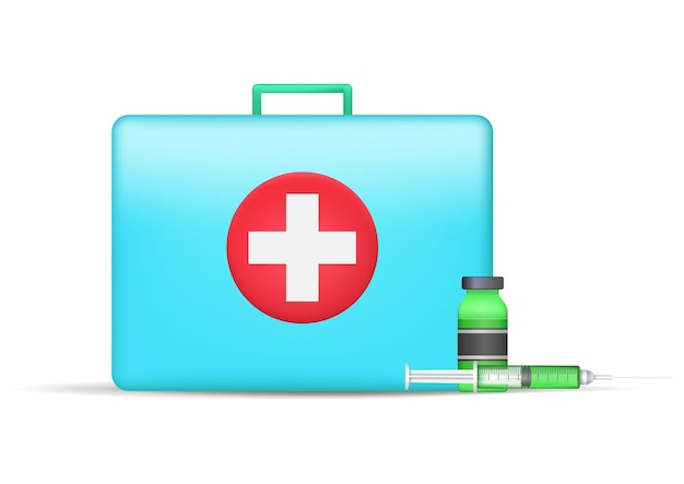 Medical suitcase and vaccine bottle and syringe