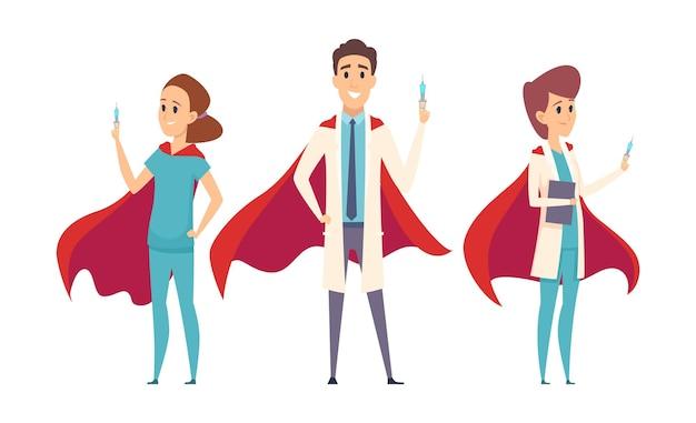 医療スーパーヒーローチーム。医師はヒーローマント、看護師セラピスト病院のスタッフを着用します。ウイルス対策、予防接種時間のベクトル文字。イラストスーパーヒーロープロ、医療支援