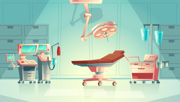 Medical surgery room concept, cartoon hospital equipment. medicine life support system