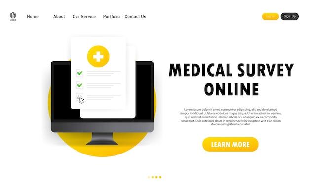 의료 설문 조사 온라인 그림입니다. 결과 데이터와 승인된 체크 표시가 있는 의료 양식 목록입니다. 컴퓨터의 임상 체크리스트 문서입니다. 전자 온라인 보험, 의료 서비스. 벡터 eps 10입니다.