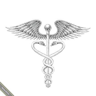 医療シンボル手描きのビンテージスタイル。アスクレピオス手描きの彫刻スタイルの黒と白のロゴ