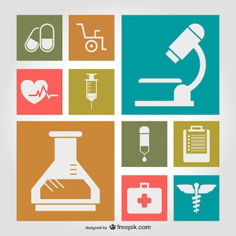 Medical symbols flat illustration