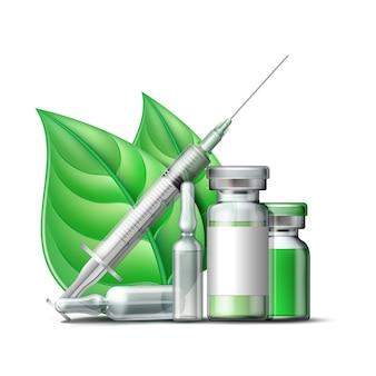 緑色の液体と薬用アンプルを備えた医療用注射器と緑色の葉を備えたバイアル。ファーマストア、ホメオパシー、代替医療の医薬品ベクトル記号。ベクター