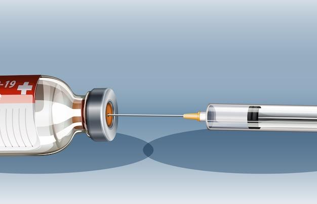 Covid-19 또는 코로나 바이러스 포스터 또는 배너 바늘이 달린 의료용 주사기