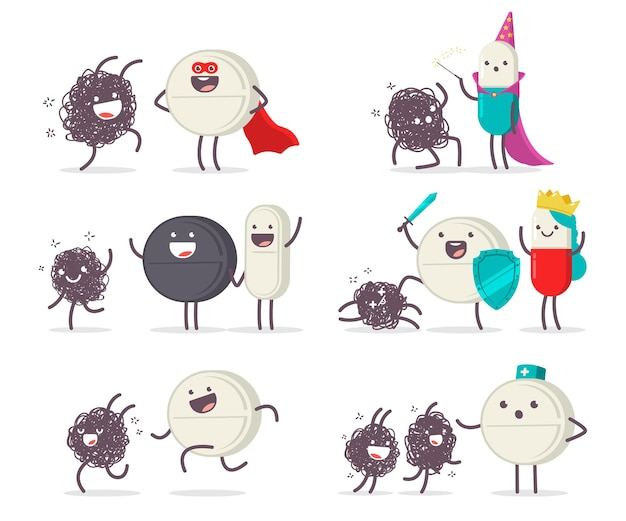 Medical tablet, pills and virus cartoon cute characters set isolated
