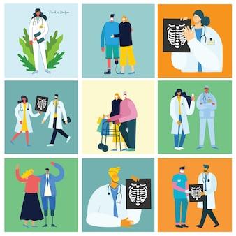 플랫 스타일의 평면 디자인 사람들이 문자에서 의료 팀 개념