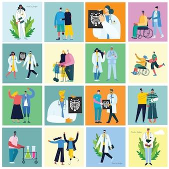 Концепция медицинской бригады в плоском дизайне людей характер в плоском стиле