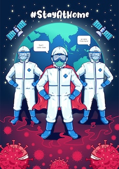 Medical team for corona virus premium vector