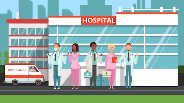 Medical team. doctors and nurses, hospital building and ambulance. medicine illustration