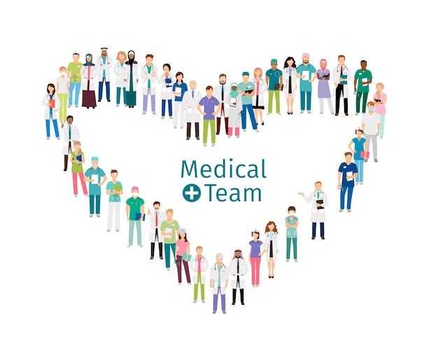医療チームの労働者。医療スタッフは白い背景で隔離の心の形で立っています