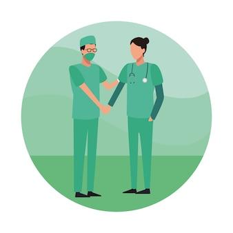 의료 팀워크 라운드 아이콘
