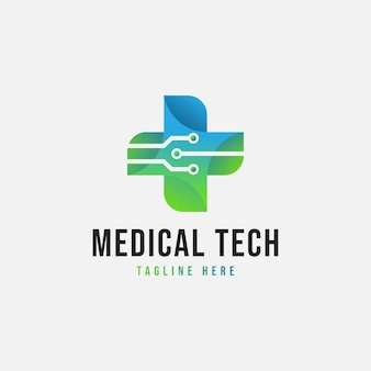Medical tech logo template design vector icon symbol emblem