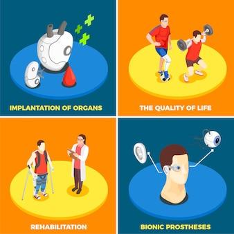 Concetto di design di tecnologia medica 2x2 con impianto di organi protesi bionica qualità della vita e icone quadrate isometriche di riabilitazione