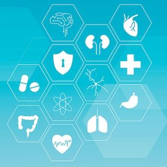 Set di icone della tecnologia medica per la salute e il benessere