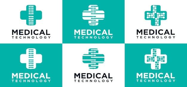 Medical technology logo technology cross icon logo design template creative cross symbol for medical