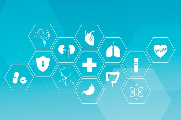 Medical technology vector icon set for health and wellness