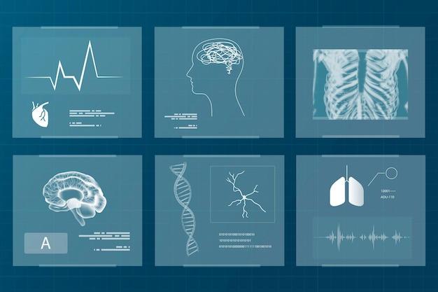 Set di vettori di tecnologia medica per la salute e il benessere