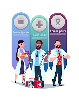 Medical template infographic elements with team of doctors
