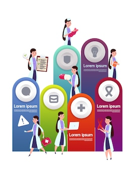 Medical template infographic elements with team of female doctors