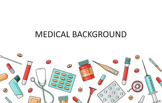 Medical template with medical equipment and medicines.