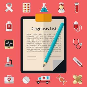 Медицинский шаблон с белым листом бумаги. отчетный документ, форма дизайна, микроскоп и стетоскоп, шприц и термометр
