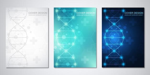 추상 육각형 패턴 커버 의료 템플릿. 의료, 건강 관리 기술, 혁신 의학, 과학에 대한 개념과 아이디어.