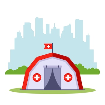 Medical tent for emergency needs of citizens. assistance in case of a non-sound situation.