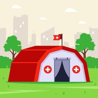 住民への緊急支援のための緑の野原にある医療用テント。フラットなイラスト。