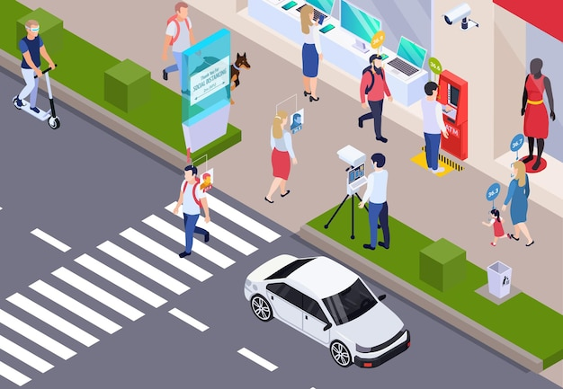 Medical testing passers by on city streets isometric background with staff measuring body temperature using contactless sensors  illustration