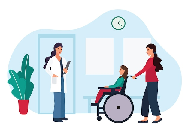 Medical theme. family doctor pediatrician and patients. mother with a disabled child in a stroller came for an examination at the clinic. cartoon