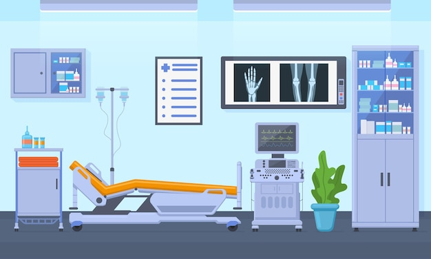 Medical therapy hospital healthcare equipment room interior. intensive therapy room, clinic equipment interior vector illustration. hospital emergency room interior