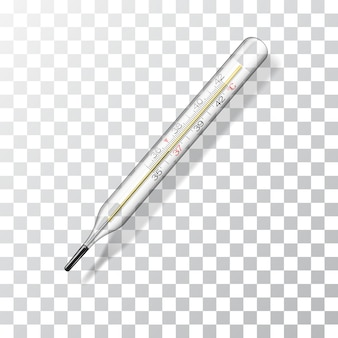 Medical thermometer. realistic glass thermometer for measuring body temperature.