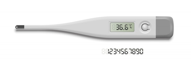 常温を示す体温計。灰色のデジタル数字セット。医学とヘルスケア、検査、診断、治療戦略の選択。