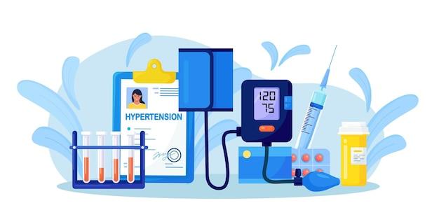 医療用眼圧計。モニター付きデジタル血圧計。心臓病、高血圧、糖尿病。血圧測定装置、試験管、薬、注射器、患者用医療カード