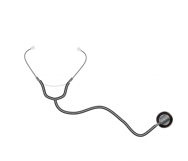 Medical tool stethoscope isolated on white