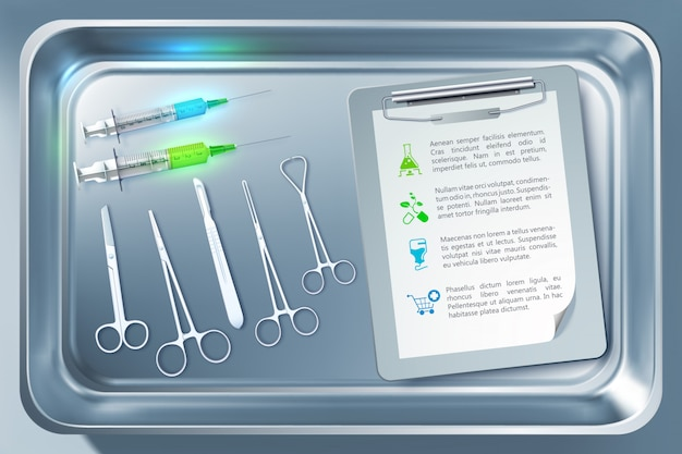 Medical tools concept with syringes forceps scalpel scissors clipboard in sterilizer isolated illustration
