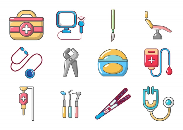 Medical tools icon set. cartoon set of medical tools vector icons set isolated